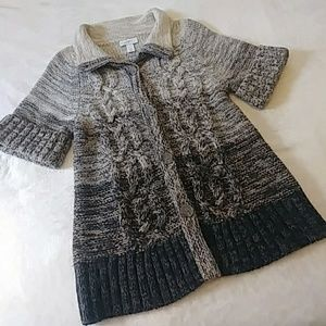 Loft Brown Ombre Short Sleeve Cable Knit Sweater